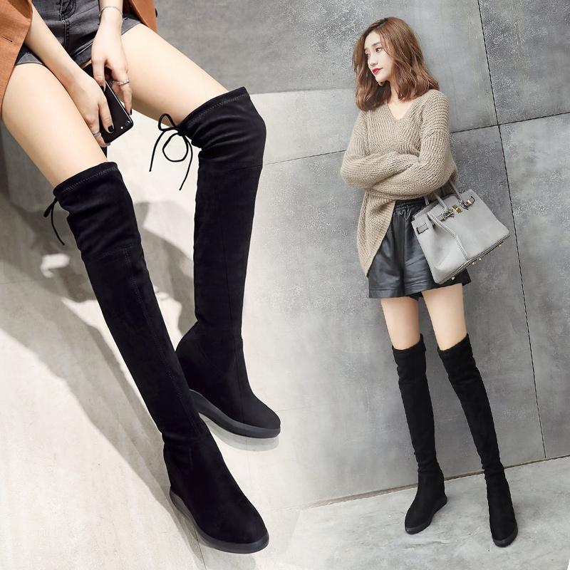 过膝靴2018秋季新款瘦瘦短靴女英伦风百搭短圆头平跟蝴蝶结马丁靴