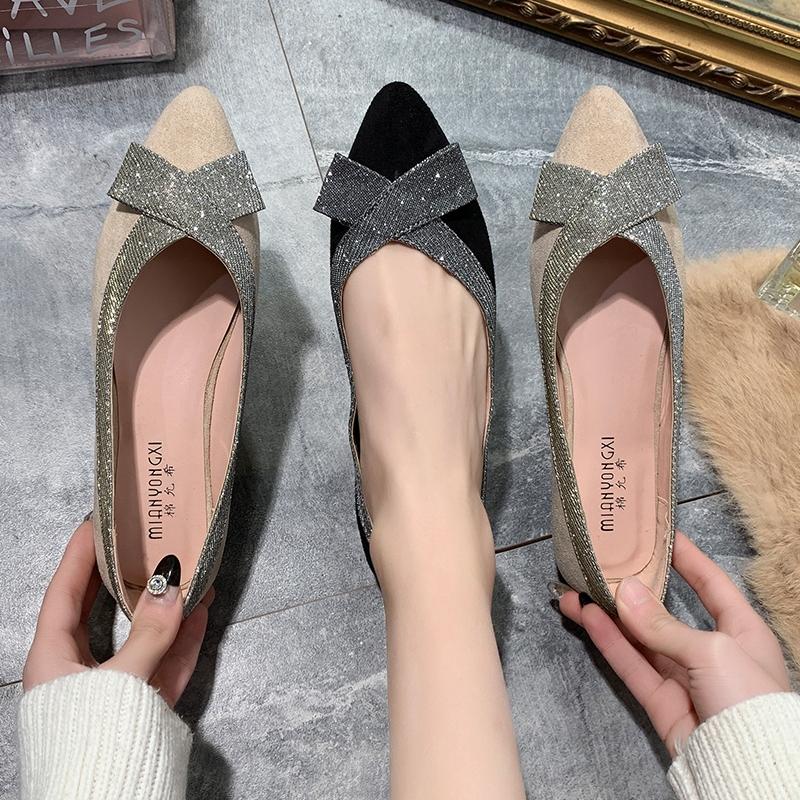 【棉允希】春季浅口平底蝴蝶结女鞋