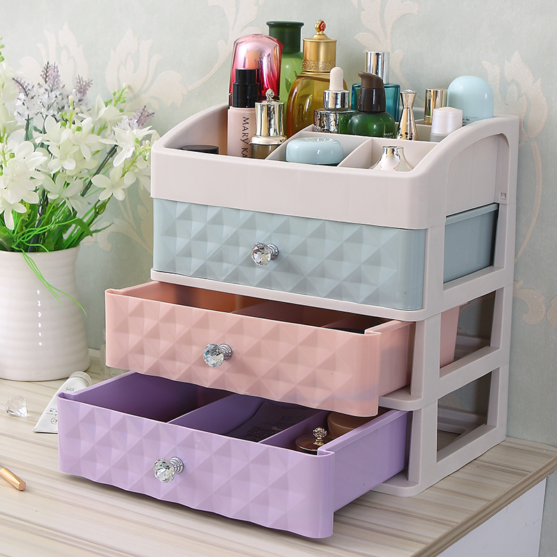 妆品抽屉桌子学生寝式塑料放室宿化妆台舍梳上置物架大号的收纳盒