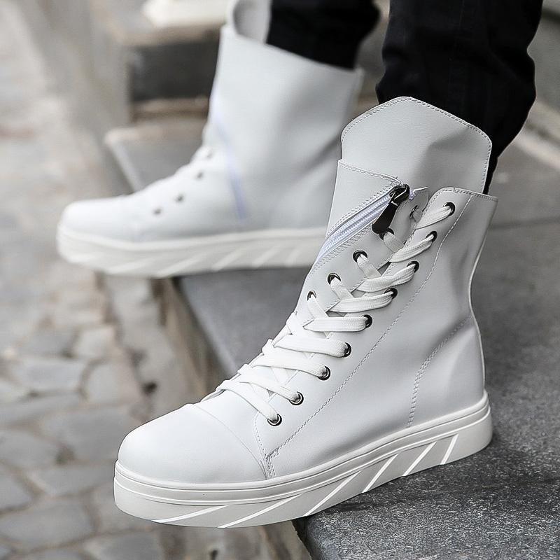 高筒皮靴男靴子男鞋白色男士高帮鞋系带中筒韩版潮流高腰长靴冬季