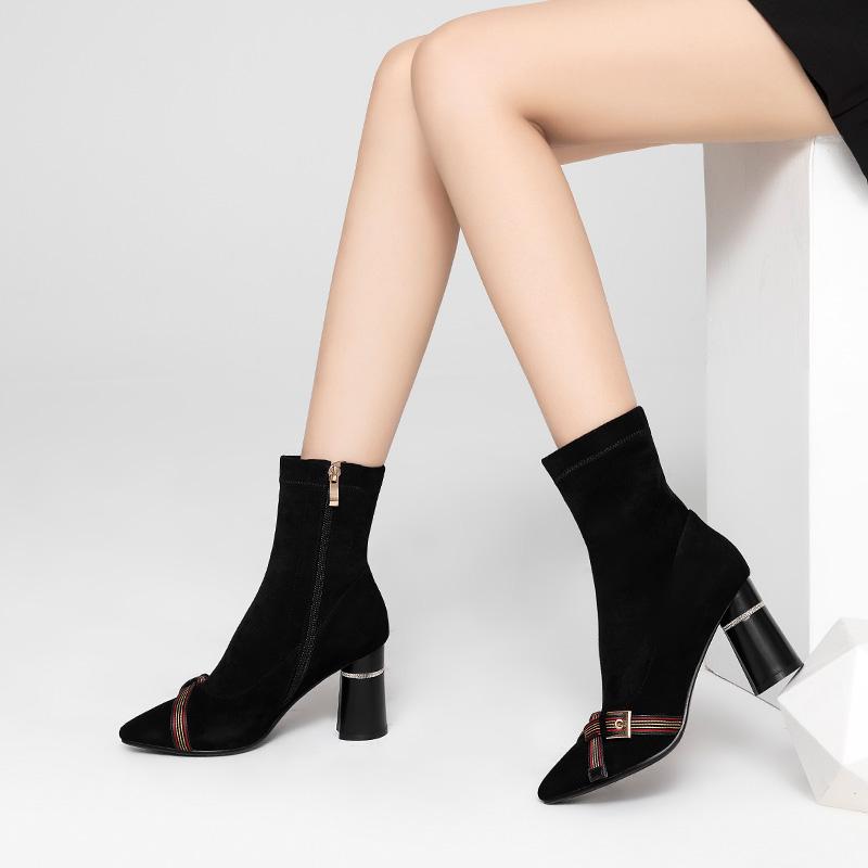 弹力靴女2018新款秋冬磨砂尖头粗跟高跟中筒靴短靴短筒袜靴马丁靴