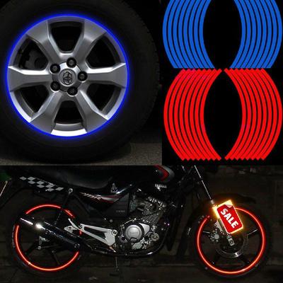 摩托车轮毂车贴改装车轮贴装饰反光彩色轮胎贴条钢圈贴纸防水贴膜