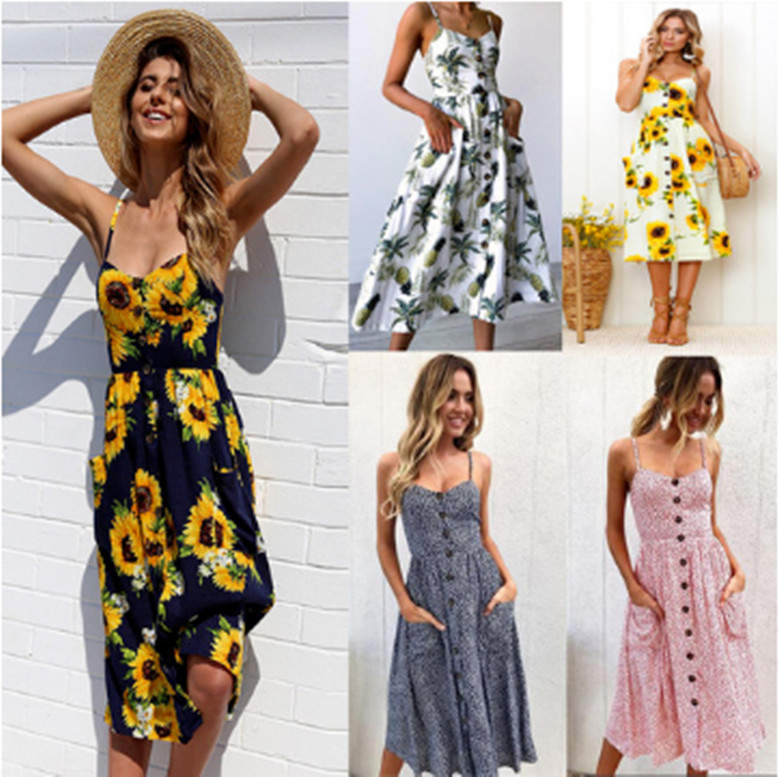 2018Women Summer Sling Halter Printed Button Dress Open Back Dress