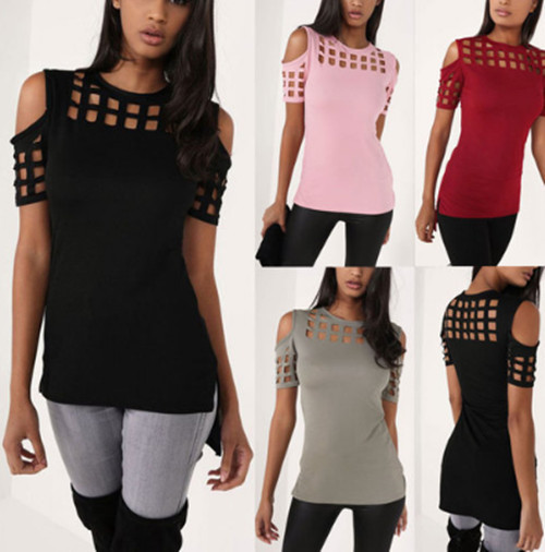 Women ladies tops summer loose sexy casual t shirts 女士T恤