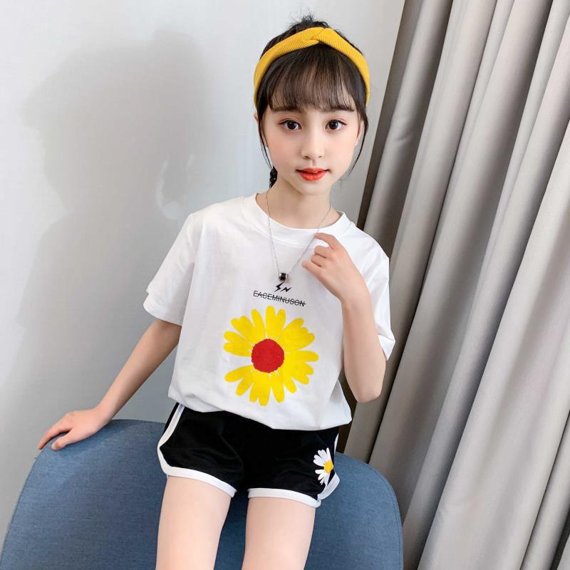 纯棉女童连衣裙夏装2020新款洋气中大童夏季小女孩中长款T恤裙子