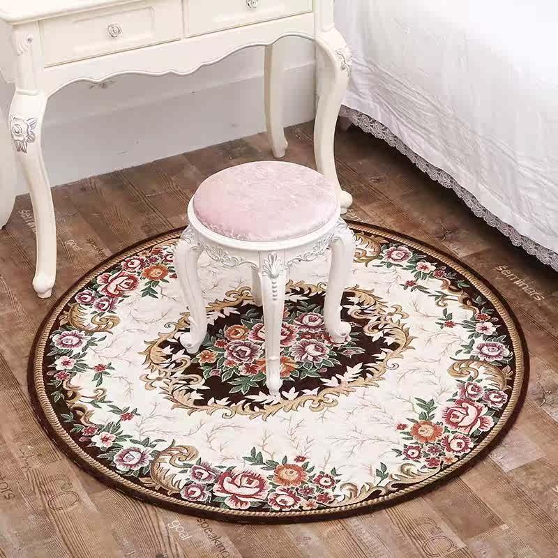 圆形卧室电脑椅垫家用地毯客厅防滑脚垫吊篮书房转椅垫子欧式地垫