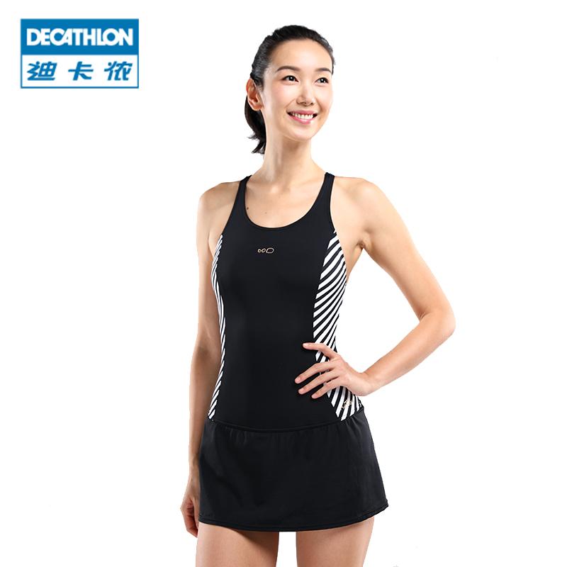 迪卡侬连体女士泳装遮肚显瘦游泳衣女大码胖MM保守温泉泳衣NABZ