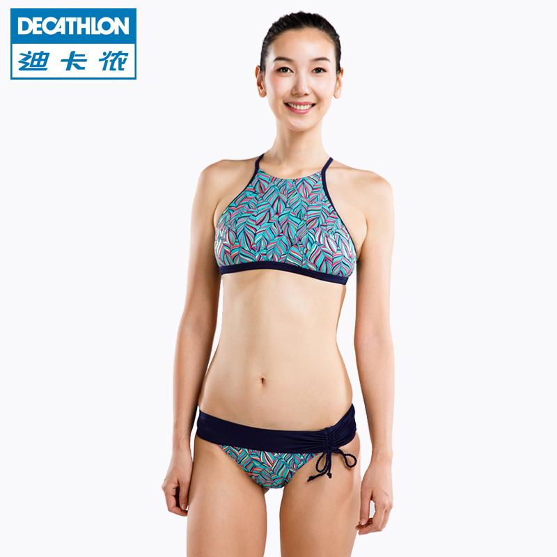 迪卡侬官方分体泳衣女泳装比基尼三件套性感游泳衣温泉大小胸SBTL