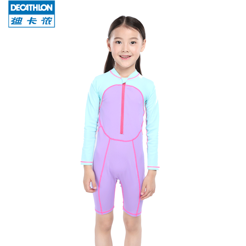 d4ad65a6f2 Decathlon children's long-sleeved one-piece swimsuit to keep warm cold  spring girls boys big children ...
