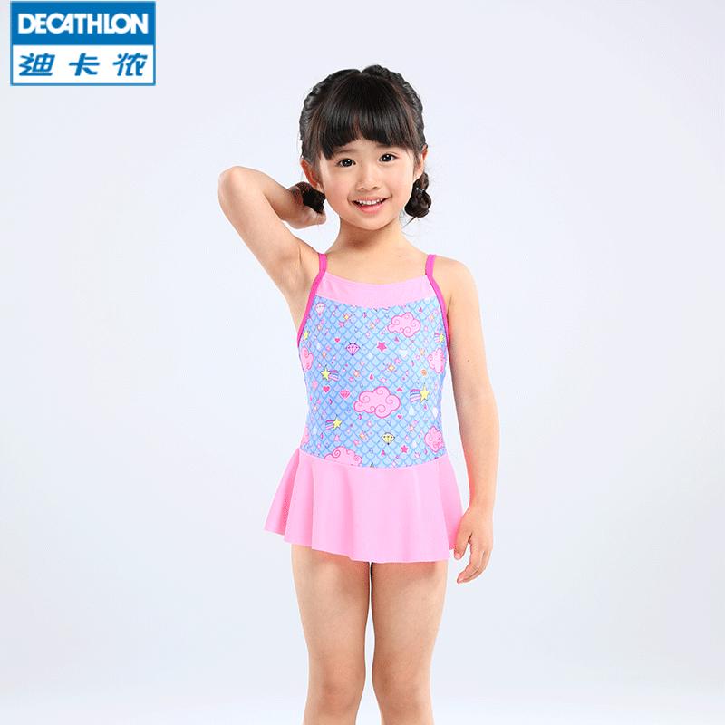 772b0b8262b29 Decathlon girl girl one-piece swimsuit baby bathing suit cute princess ...