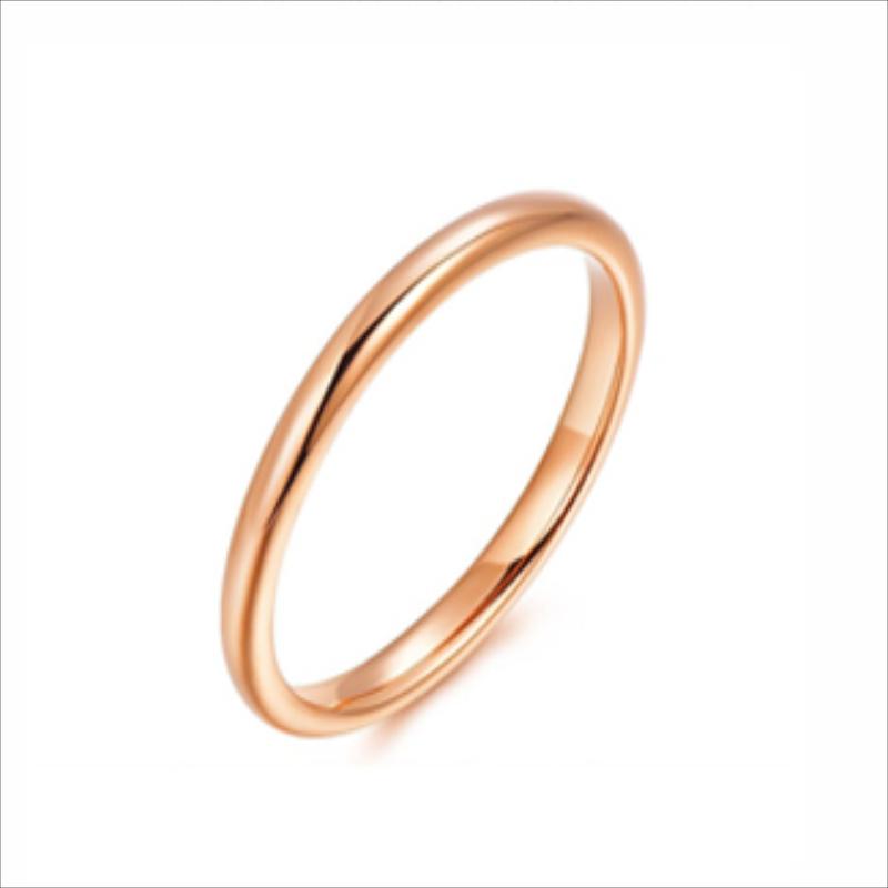 齐创善缘素圈戒指女18K玫瑰金色精致个性情侣对戒生日礼物不掉色
