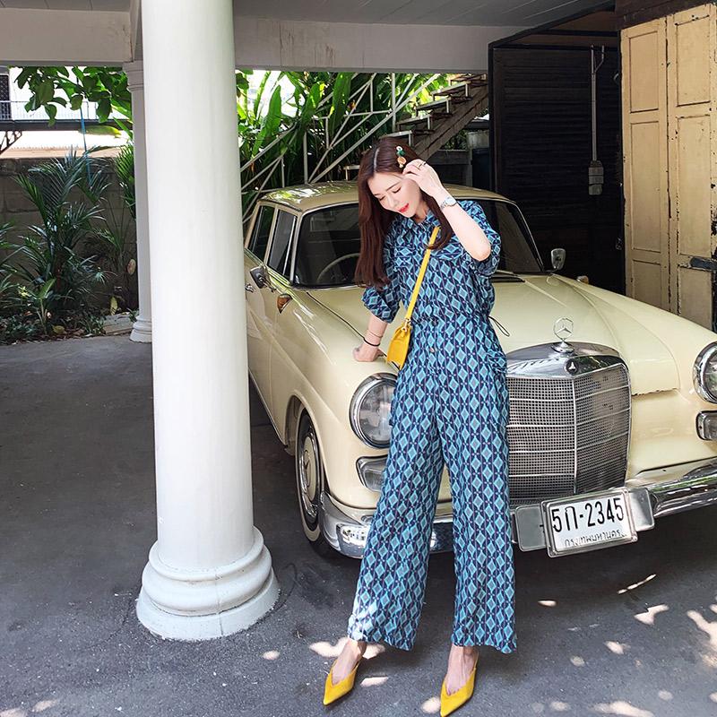 长裤家2019夏季新款v长裤连衣格子高腰阔腿裤网红蜜桃裤子裤女连体