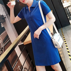 2021 new solid color A-line dress lapel cotton short-sleeved mid-length t-shirt sports tennis POLO skirt female summer