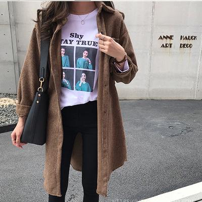秋季新款复古港味中长款宽松灯芯绒衬衫女设计感小众衬衣轻熟上衣
