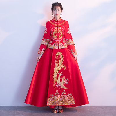 Chinese wedding dress red cheongsam ancient Chinese wedding dress ceremonial grass dress wedding embroidery kimono