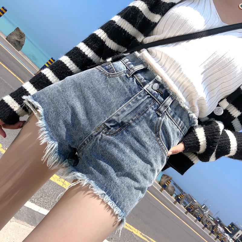 2019夏季新款高腰A字流苏毛边宽松阔腿ins泫雅牛仔短裤女网红热裤
