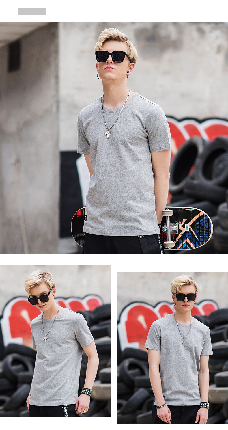 特步 男子夏季休闲T恤 纯色印花圆领套头上衣882229019226-
