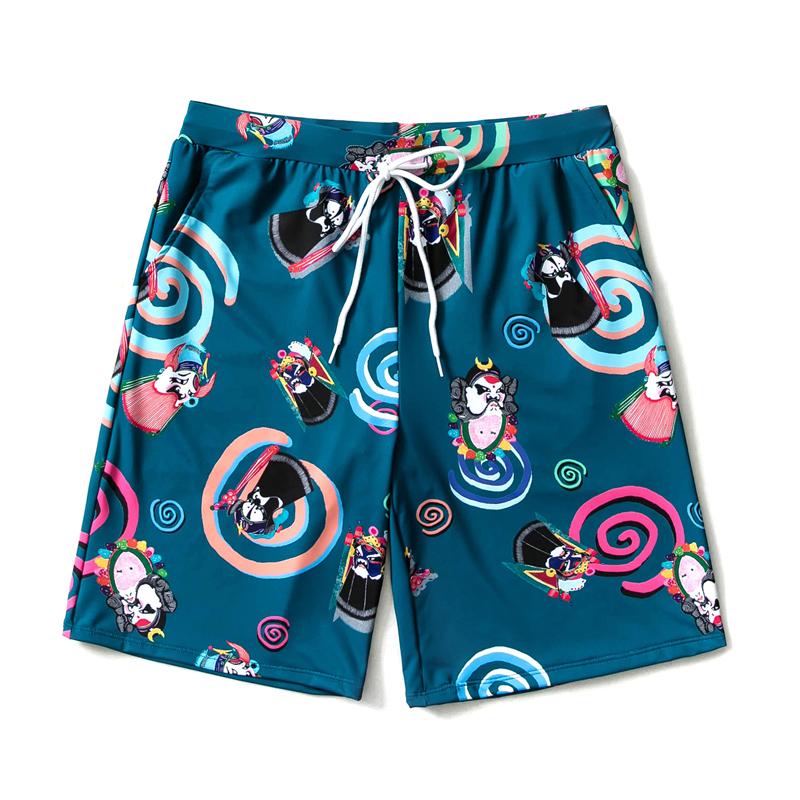 沙滩裤男速干宽松海边度假加大码五分平角泳裤可下水红色情侣短裤