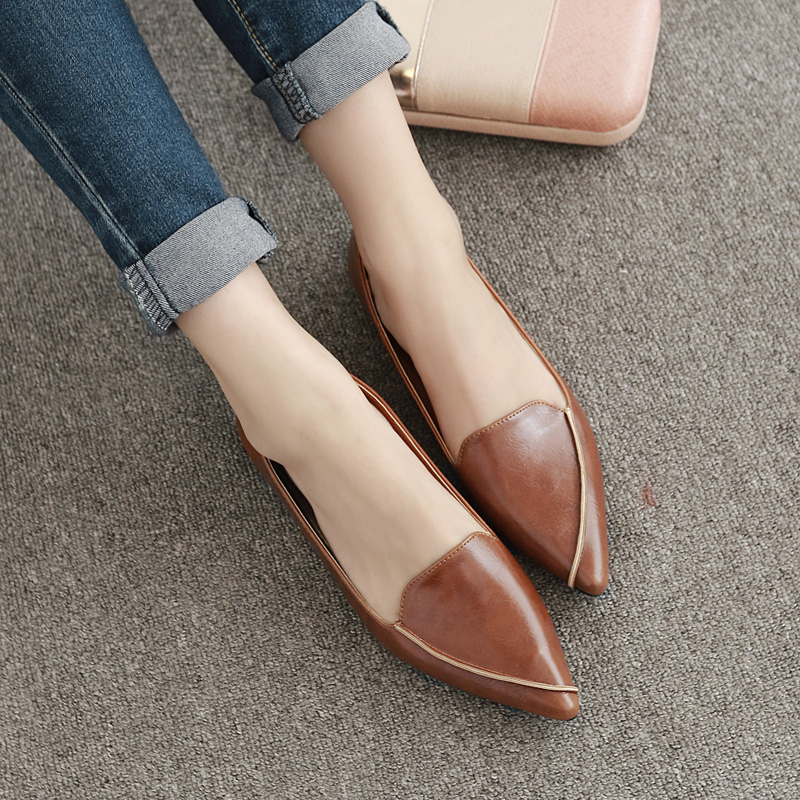 Single shoes female 2019 new spring and autumn pointed flat shoes female flat  with shallow mouth 70ccc6f5cc48