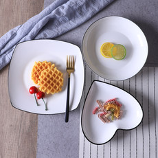 Vader's plate breakfast Western steak plate ceramic tableware creativity Japanese simple black line dish household plate