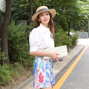 FS30807# 夏季韩版气质翻领衬衣上衣+花朵系带短裤两件套 服装批发连衣裙批发