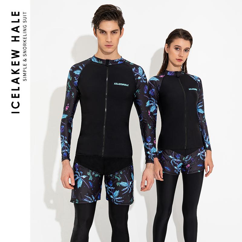 冰湖鲸水母潜水服女印花情侣防晒拉链衣长袖分体拼接男浮潜游泳衣