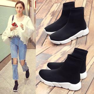 Ботинки, полусапожки,  Эластичность носки обувь женщина черный бархат ботинки дикий осень корейский высокий обувной превышать пожар 2018 новый чистый красная женщина обувной, цена 1105 руб