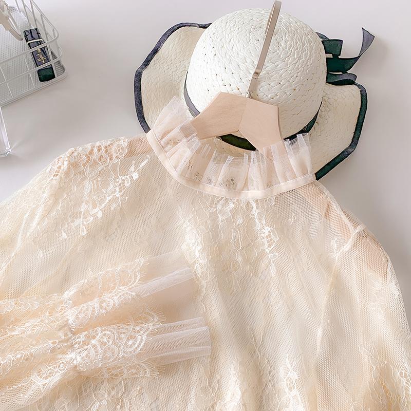 纱衣领花边蕾丝衫女打底2019上衣洋气长袖秋冬内搭网纱高品质仙气