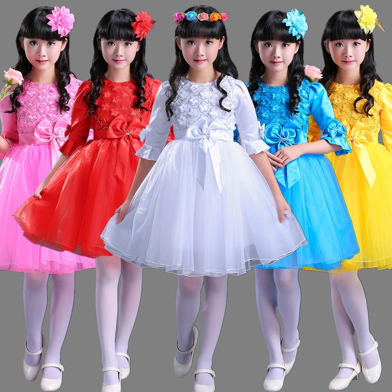girls princess ballet chorus dresses children performance dress girl Princess pengpeng gauze skirt kindergarten Dance Dress primary school children chorus performance Costume