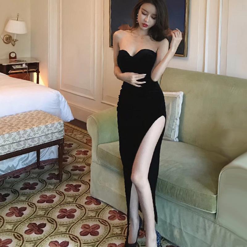 泰国潮牌夜场高开叉露腿显瘦礼服不规则抹胸气质丝绒长裙连衣裙女