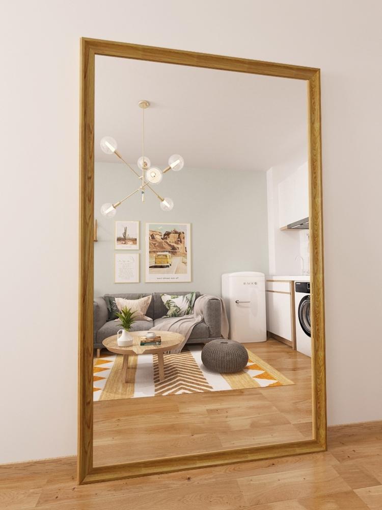 Gương cửa hàng quần áo gương toàn thân gương sàn gương mỏng và đẹp, nhảy quá khổ gỗ rắn lắp gương in gió - Gương