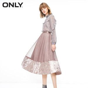 ONLY2018冬季新款丝绒网纱气质百褶半身裙女|119116504