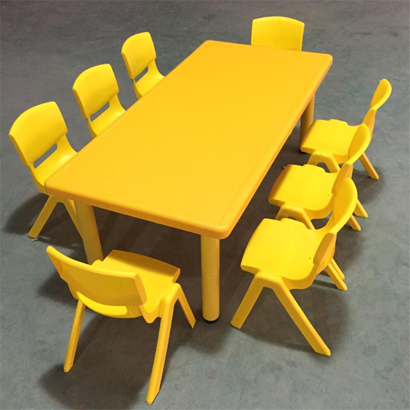 Bàn ghế mẫu giáo tám người Bàn hình chữ nhật trẻ em bàn bé học vẽ bàn nhựa giáo dục sớm bàn ghế dài - Phòng trẻ em / Bàn ghế