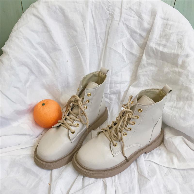 马丁女靴2019新款秋季韩版百搭时尚加绒女士中跟平底学生靴子短靴