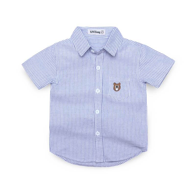 (COTTON SHORT SLEEVE) STRIPED BLUE SHIRT