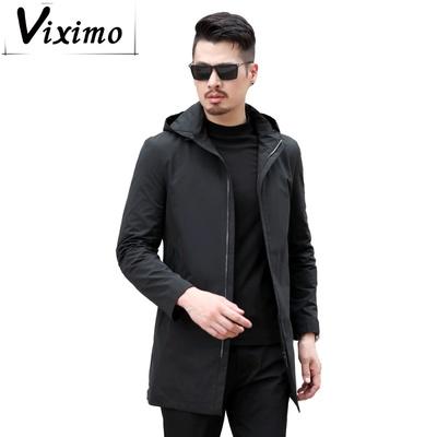 Áo khoác nam của VIXIMO Áo choàng nam dài lưng chẻ cách gió Anh trùm đầu kinh doanh Bình thường áo khoác nam trung niên - Áo gió
