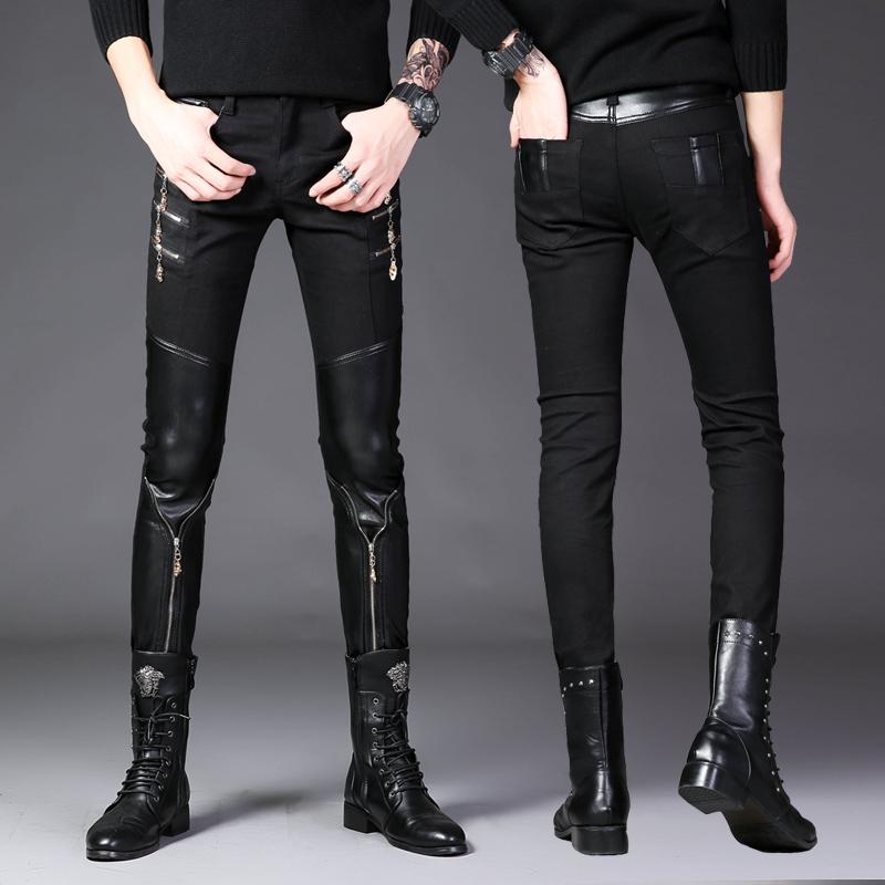 春装潮男韩版修身小脚裤主流拉链半皮休闲男裤男士拼接紧身皮裤