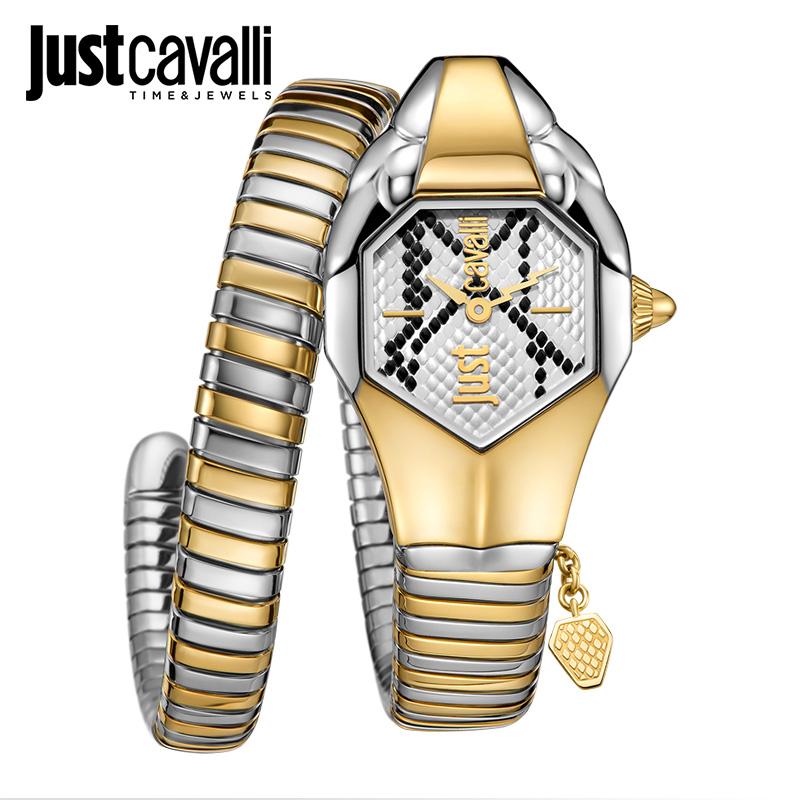 Just Cavalli手表2018新款女表個性時尚鋼帶蛇形纏繞潮流歐美腕表