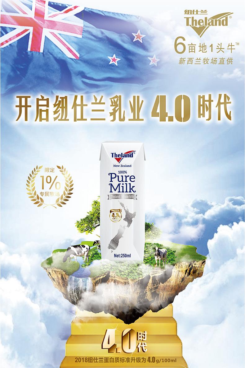 新西兰进口 Theland 纽仕兰牧场 4.0g乳蛋白 全脂纯牛奶 250ml*16盒*2件 聚划算多重优惠折后¥98.5包邮