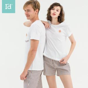 爱帝情侣睡衣夏季薄款短袖短裤套装