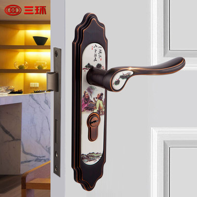 Sanhuan ceramic door lock new Chinese style bedroom room wooden door lock interior door bathroom Chinese style door lock 54M54