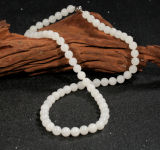 Cuican Hotan White Jade Beaded Necklace Bracelet