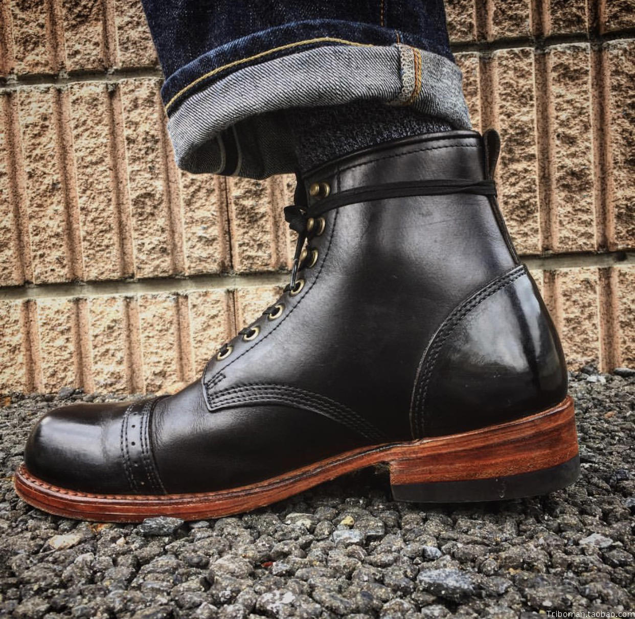 5519686cb65 Julian boots for RRL - - - black leather reinforced leather version with an  upgraded version of Beckham