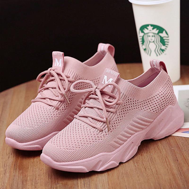 飞织网布女鞋2020新款运动鞋女学生跑步鞋韩版透气网鞋休闲鞋女士