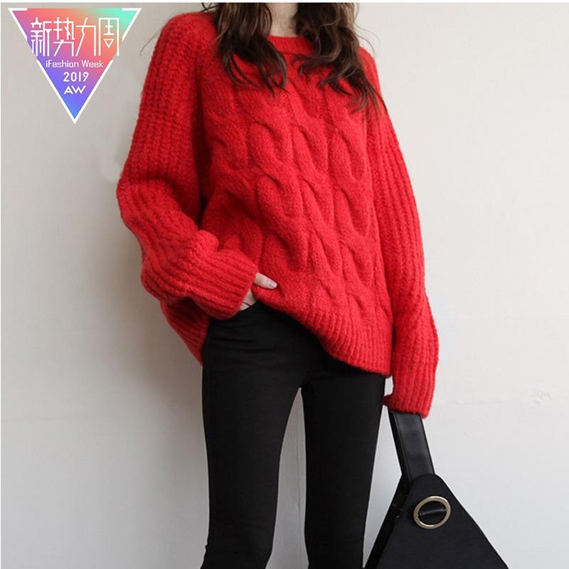 2019新款上衣羊绒衫大红色毛衣加厚冬慵懒套头长款外套宽松风女装