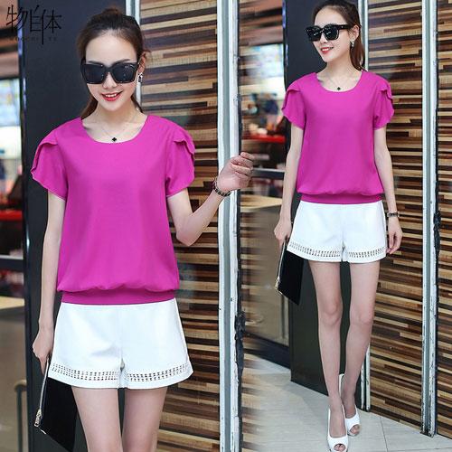 2016夏季新款竹节棉宽松白色短袖T恤女衣服女士韩国体恤夏装上衣