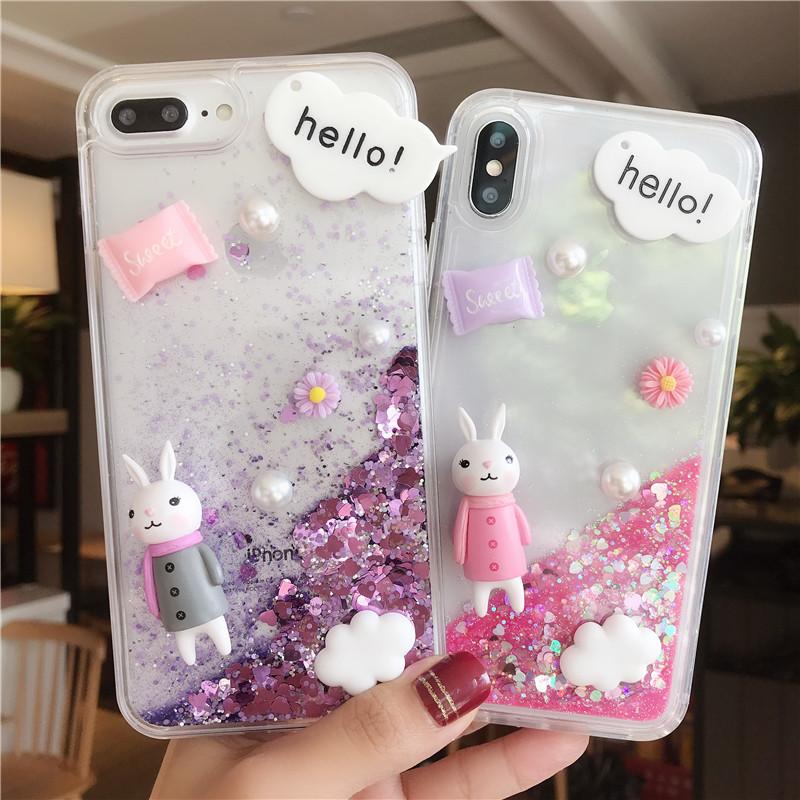 可愛 立體 兔子 亮片流沙軟殼 iPhone 6 4.7吋/plus 5.5吋 流沙 造型手機殼 蘋果 防摔矽膠 軟殼
