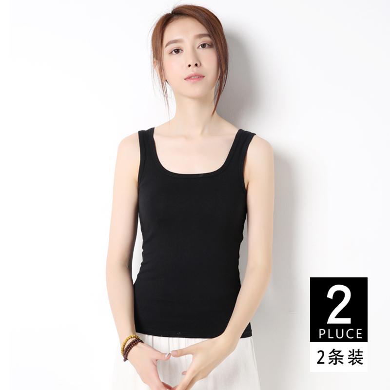 Женщины Camisole 2018 новая коллекция чистый хлопок черный корейская версия приталенный дикий для отдыха Возьмите осень стиль основывая верх Одежды
