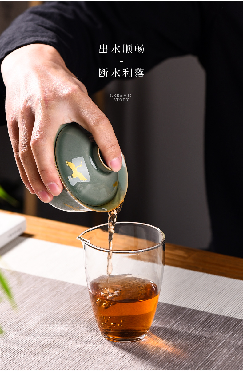 Ceramic story kung fu tea set suit small household set of tea cups high - grade office receive a visitor Ceramic tureen gift box