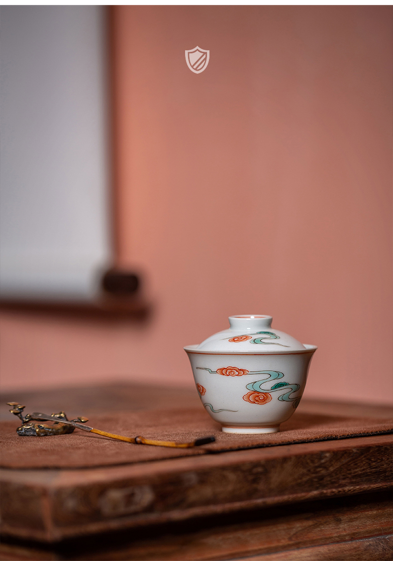 High - end checking hand - made ceramic story town tureen three tureen only a single red green color xiangyun grain tureen